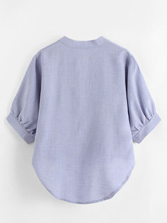 Irregular Solid Color 3/4 Sleeve Notched Neck Shirts