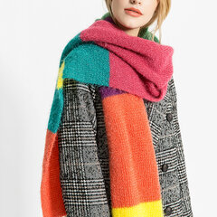 Women Muticolor Knit Rainbow Collage Stripe Warm Comfortable Shawl Collar Scarves