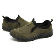 Men Canvas Elastic Slip On Light Weight Walking Shoes