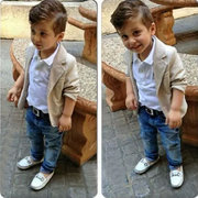 3Pcs Formal Boys Clothing Sets Shirt + Coat+ Long Jeans Pants For 1Y-11Y