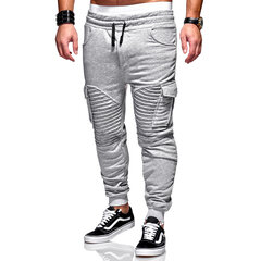 Mens Solid Color Drawstring elastische Taille Hose Slim Fit Casual Fitness Laufhose
