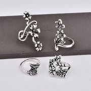 Vintage 4 Pcs Ring Set Bohemian Flower Silver Rings Punk Knuckle Ring Set for Women