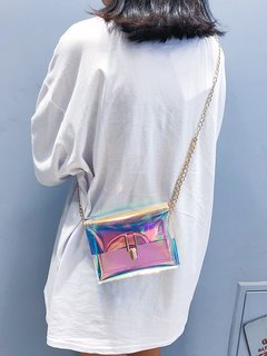 Women Clear Laser Shoulder Bag Chains Stylish PVC Mini Crossbody Bag