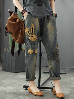 Cartoon Rabbit Embroidery Distressed Patch Casual Denim