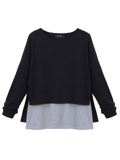 O-NEWE Casual Solid Fake Two-piece Patchwork Irregular Hem Blouse