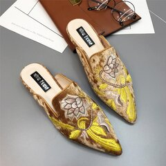 Women Lazy Muller Vintage Suede Flowers Embroidery Flats Slippers