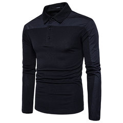 Mens Brief Style Patchwork Golf Shirt Breathable Slim Fit Long Sleeve Casual T-shirt