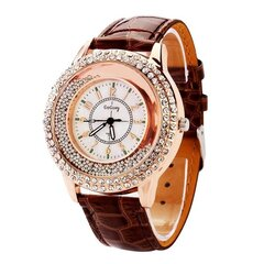 Unique Full Rhinestone Drift Beads Leather Strap Casual Women Quartz Luxury Watches for Women