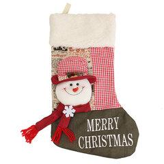 Nouvel An Vintage Noël Stockage Bonhomme de neige Plaid Sac chaussettes chaussettes ornement