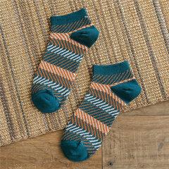Hombres raya algodón barco calcetines Sudor seco tobillo calcetines