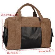 Men Vintage Casual Canvas Handbag Patchwork Large Outdoor Shoulder Bag