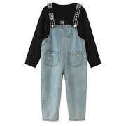 Girls Printed Casual Sets Long Sleeve T-Shirt + Suspender Jeans For 4Y-15Y