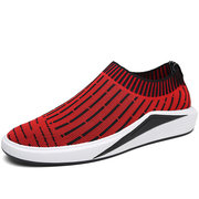 Men Elastic Flyknit Fabric Low-top Slip On Breathable Running Casual Sneakers