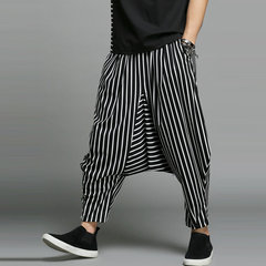 Mens Baggy Black Striped Harem Pants Casual Hip-hop Loose Crotch Trousers
