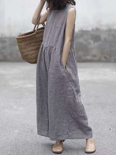 Plaid Wide Leg Sleeveless Baggy Black Overalls Jumpsuits