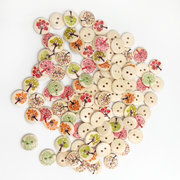 100Pcs 15mm Fruit Trees Printing Wooden Buttons DIY Sewing Materials Handcraft