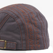 Men Women Solid Color Embroidery Cotton Beret Cap Casual Forward Peaked Hat
