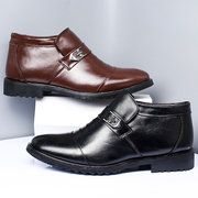 Men Genuine Leather Cap Toe Non-slip Slip On Warm Casual Boots