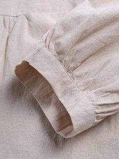 Blusa suelta de manga larga color burbuja estilo vintage más tamaño