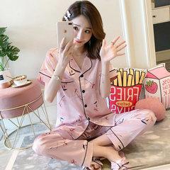 Jibing Silk Pyjamas Женские тонкие брюки с короткими рукавами Домашняя одежда Женский шелковый имитационный костюм из двух частей