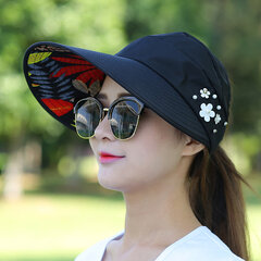 Women Summer Outdoor Gardening Anti-UV Foldable Beach Sunscreen Sun Hat Flower Print Cap