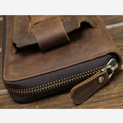 Genuine Leather Vintage Coin Bag Business Zipper Long 5.5 Inche Phone Wallet For Men