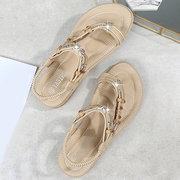 LOSTISY große Größe Strass Perlen elastische Band Clip Toe Sandalen