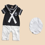 Navy Style Baby Boys Romper with Hat  Clothing Set For 0-36 Months
