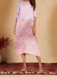 Casual Polka Dot Patchwork Two Pieces Plus Size Maxi Dress