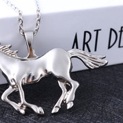 Fashion Silver Gold Color Horse Pendant Women's Necklace Sweater Chain Jewelry for Women