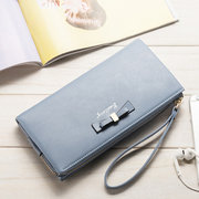 Bowknot Multi-slots Long Wallet Card Holder 6inch Phone Bag Purse For Women
