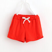 Solid Color Boys Girls Kids Elastic Waist Casual Shorts Pants For 3Y-11Y
