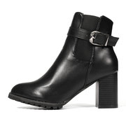 Black Buckle Block Ankle Boots