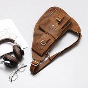 Bolso bandolera retro de cuero genuino con multi-bolsillos Bolso pectoral al hombro para hombres