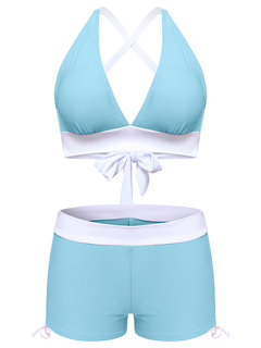 Sexy Criss-cross Back High Waisted String Two Piece Swimsuits