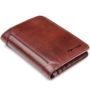 Ferricos RFID Antimagnetic Genuine Leather Vintage Tri-fold Large Capacity Short Wallet For Men
