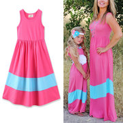 Mommy and Me Matching Outfits Stripe Sleeveless Maxi Casual Dress