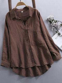 Solid Color Long Sleeve Pocket High Low Shirts