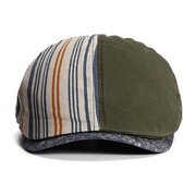 Men Summer Stripes Cotton Beret Cap Outdoor Sports Travel Sunscreen Hat