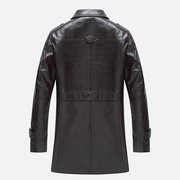 Lapel Collar Solid Color Motorcycle Epaulet Faux Leather Jacket for Men