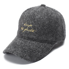 Women Men Solid Woolen Embroidery Letter Sport Baseball Cap Multi-color Outdoor Peaked Cap