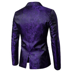 Mens Jacquard Casual Dress Suit Palace Wedding Banquet Nightclub Stage Giacca bavero