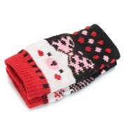 Women Winter Thick Warm Knitted Gloves Outdoor Sweet Bow Tie Print Fingerless Gloves