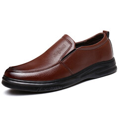 Men Pure Color Leather Non Slip Slip On Soft Casual Shoes