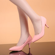 Leather Pure Color Ponited Toe Kitten Heel Pumps