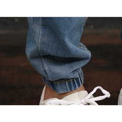Men's Denim Casual Slim Holes Electric Waist Dawstring Ankel Length Pant