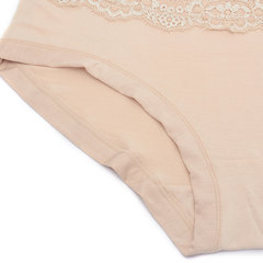 M-3XL Women Soft Modal Embroidered Lace Briefs Elastic Mid Waist Panties