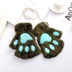 Женщины Зимние симпатичные медвежьи кошачьи лапы латные рукавицы плюшевые перчатки повседневные теплые перчатки с перчатками