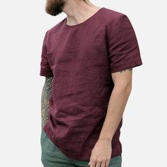 Tee-shirt en lin pour hommes en coton avec col rond et respirant