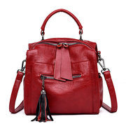 Women Soft Leather Multi-function Crossbody Bags Leisure Backpack Solid Handbags